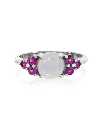 Mia & Beverly - Chalcedony and Fuchsia Sapphires 18K White Gold Ring