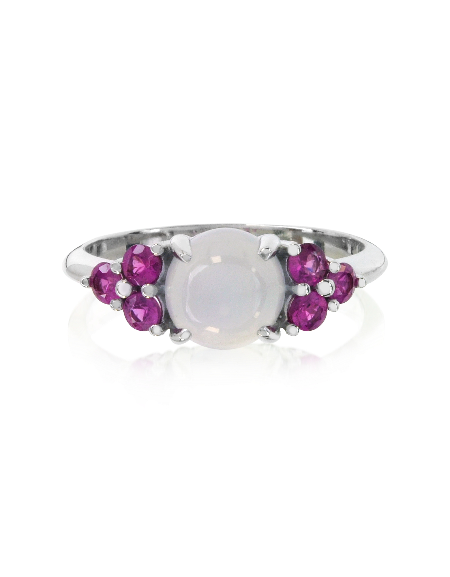 Mia & Beverly Rings, Chalcedony and Fuchsia Sapphires 18K White Gold Ring
