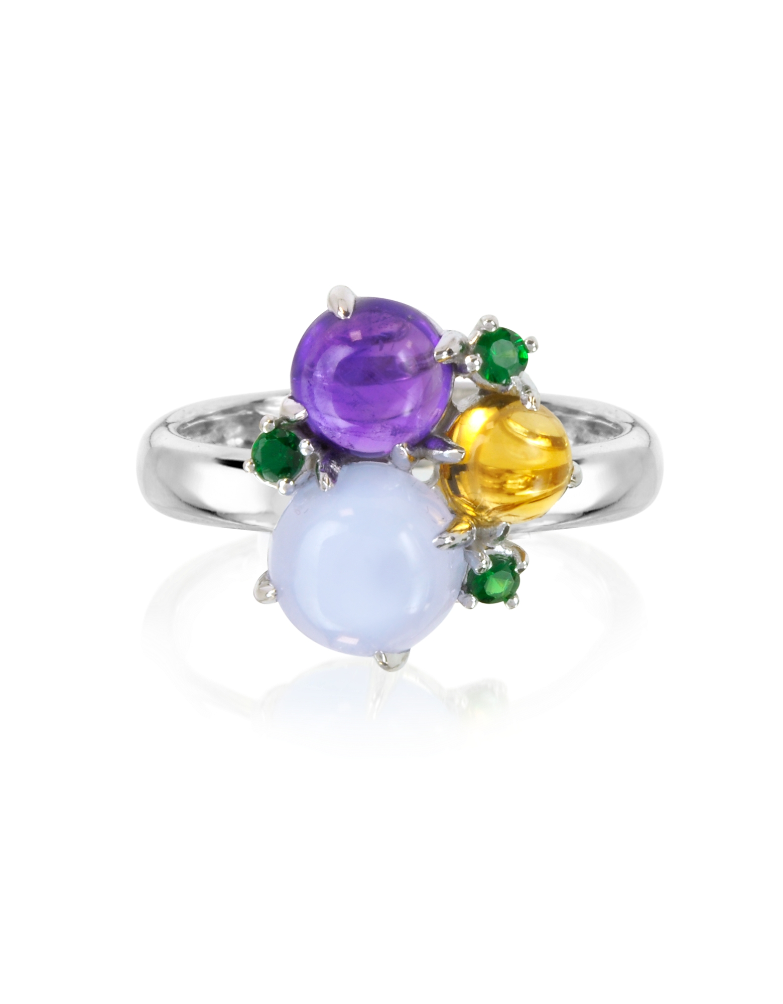 Mia & Beverly Rings, Gemstones 18K White Gold Ring
