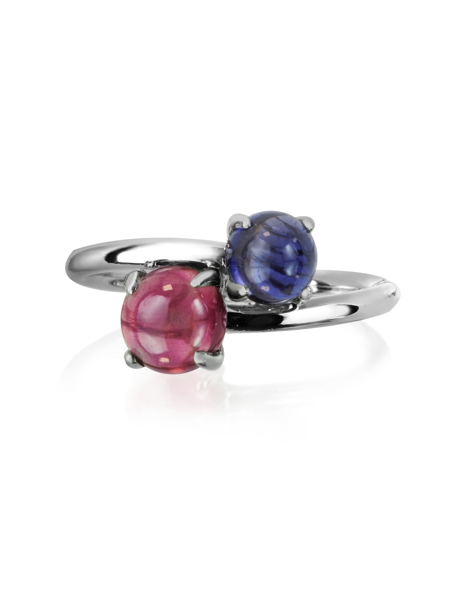 Mia & Beverly Rings, Iolite and Garnet 18K White Gold Ring