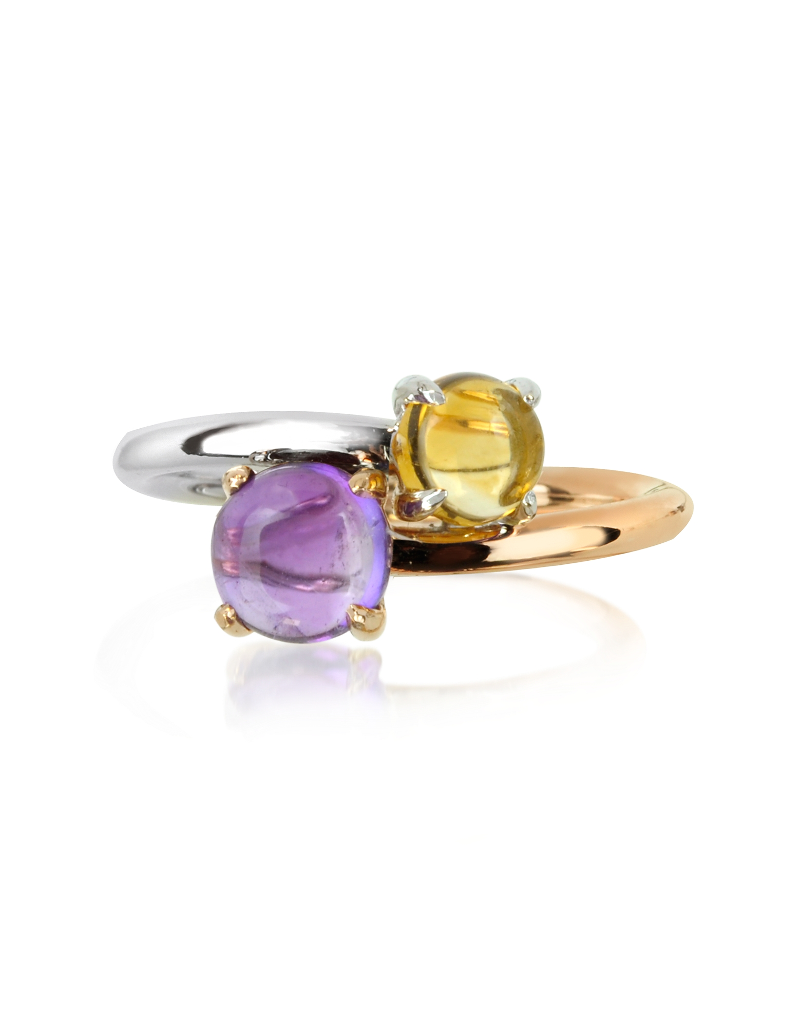 Mia & Beverly Rings, Amethyst and Citrine Quartz 18K Rose & White Gold