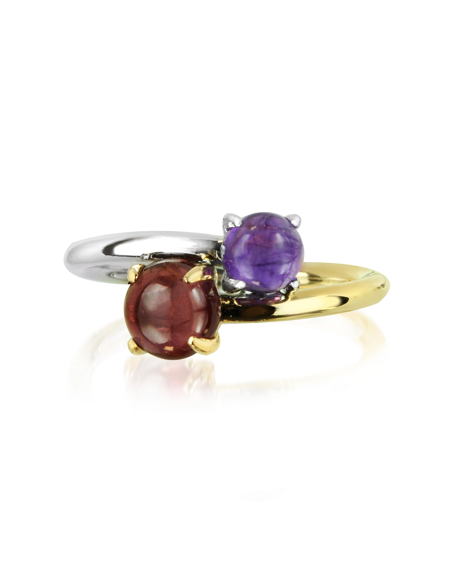 Mia & Beverly Rings, Amethyst and Garnet 18K White & Yellow Gold