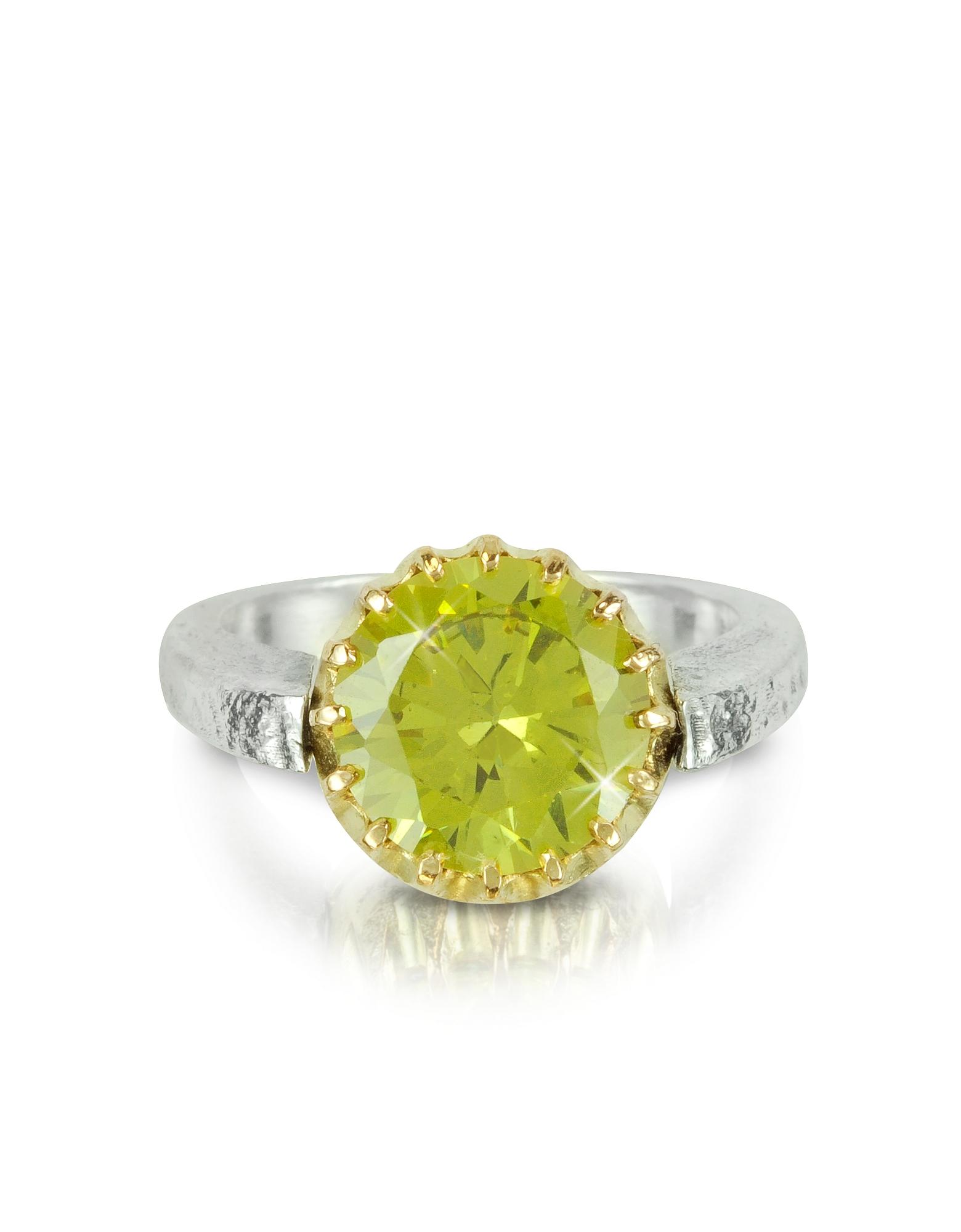 Кольцо из Серебра 925 пробы и Розового Золота с Зеленым Кубиком Циркония