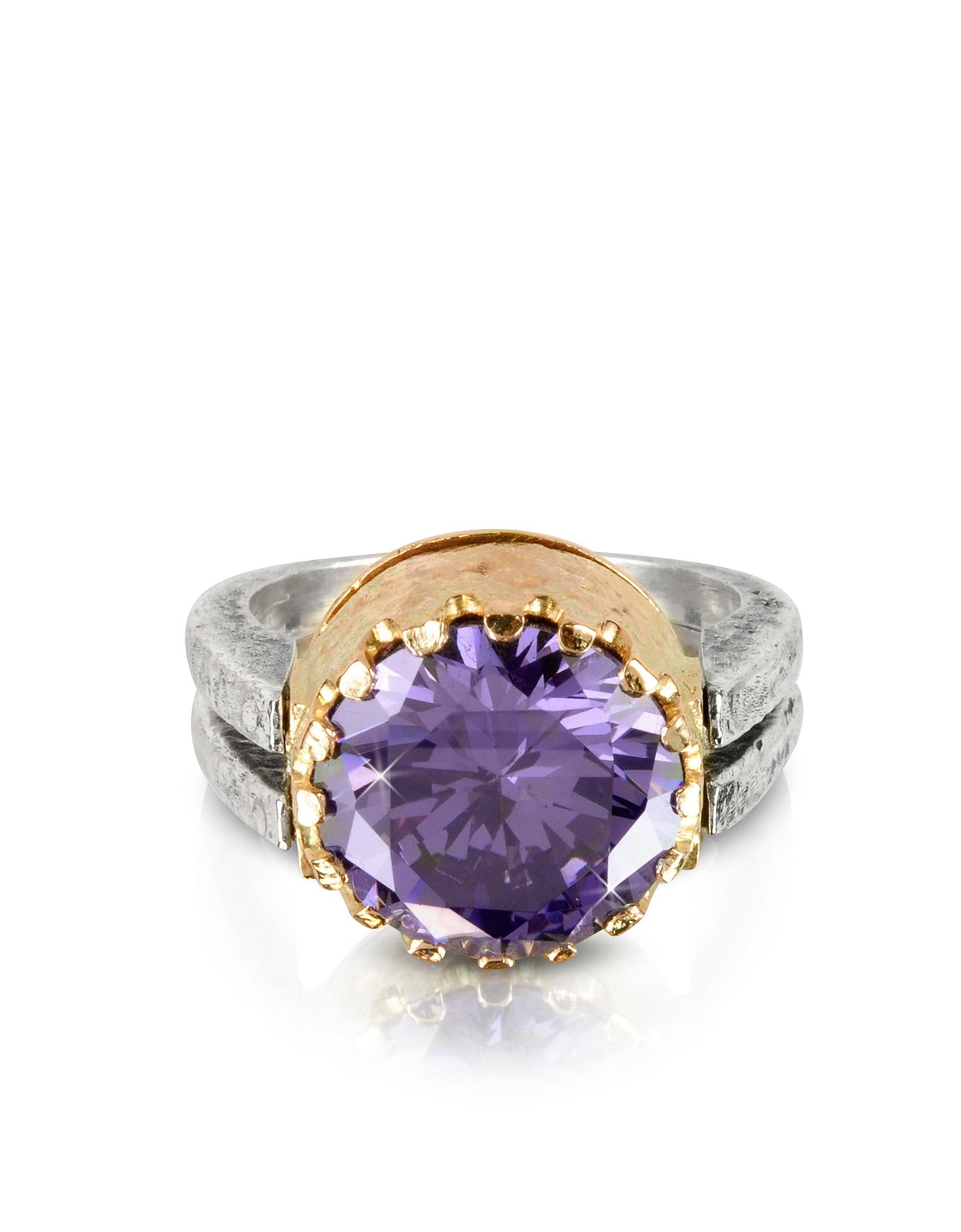 Tryo Кольцо из Серебра 925 пробы и Розового Золота с Кубиком Циркония Оттенка Фиолетового Аметиста