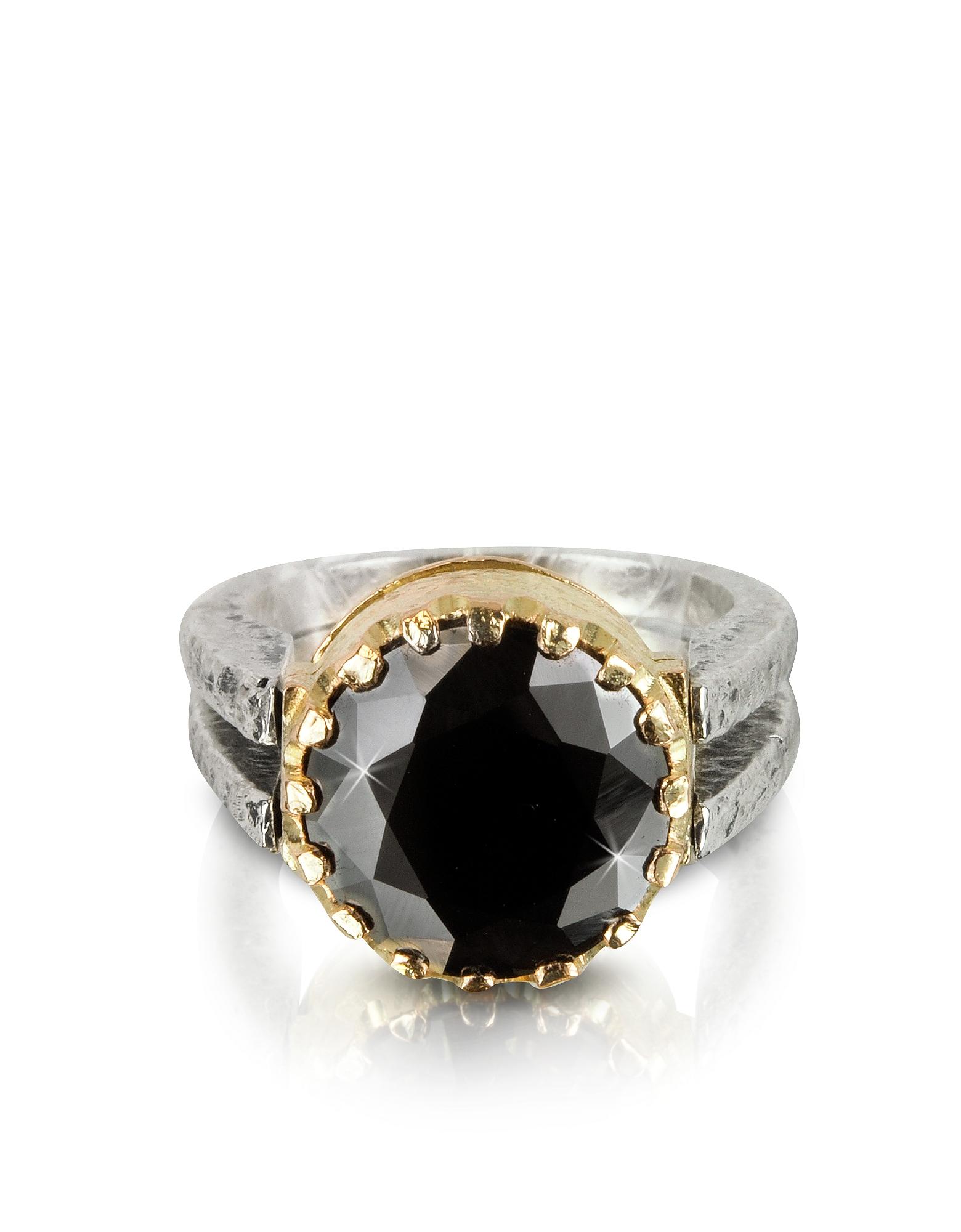 Tryo Кольцо из Серебра 925 пробы и Розового Золота с Черным Кубиком Циркония