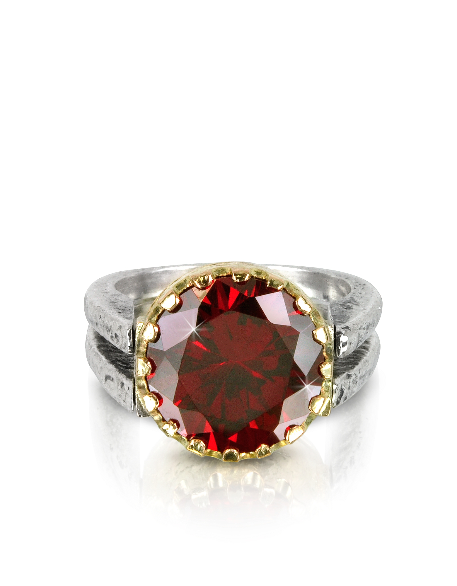 Tryò Rings, Red Cubic Zirconia Sterling Silver & Rose Gold Reversible Ring