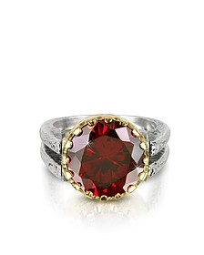 Red Cubic Zirconia Sterling Silver & Rose Gold Reversible Ring - Tryò