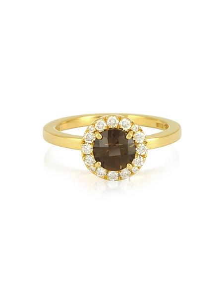 Forzieri Bague en Or Jaune avec Quartz Fumé et Diamants