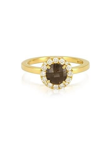 Forzieri - 0.24 ct Diamond Pave 18K Gold Ring w/ Smoky Quartz