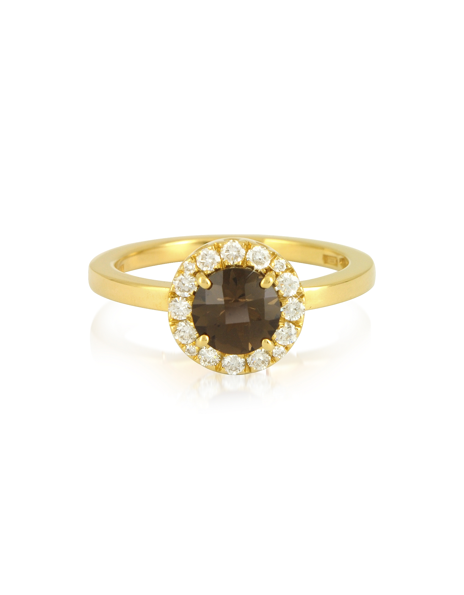 Forzieri Rings, 0.24 ct Diamond Pave 18K Gold Ring w/ Smoky Quartz