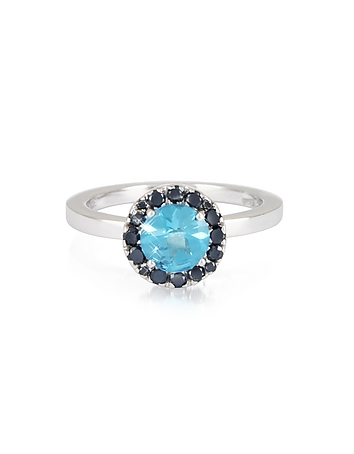Forzieri - 0.27 ct Diamond Pave 18K White Gold Ring w/Blue Topaz