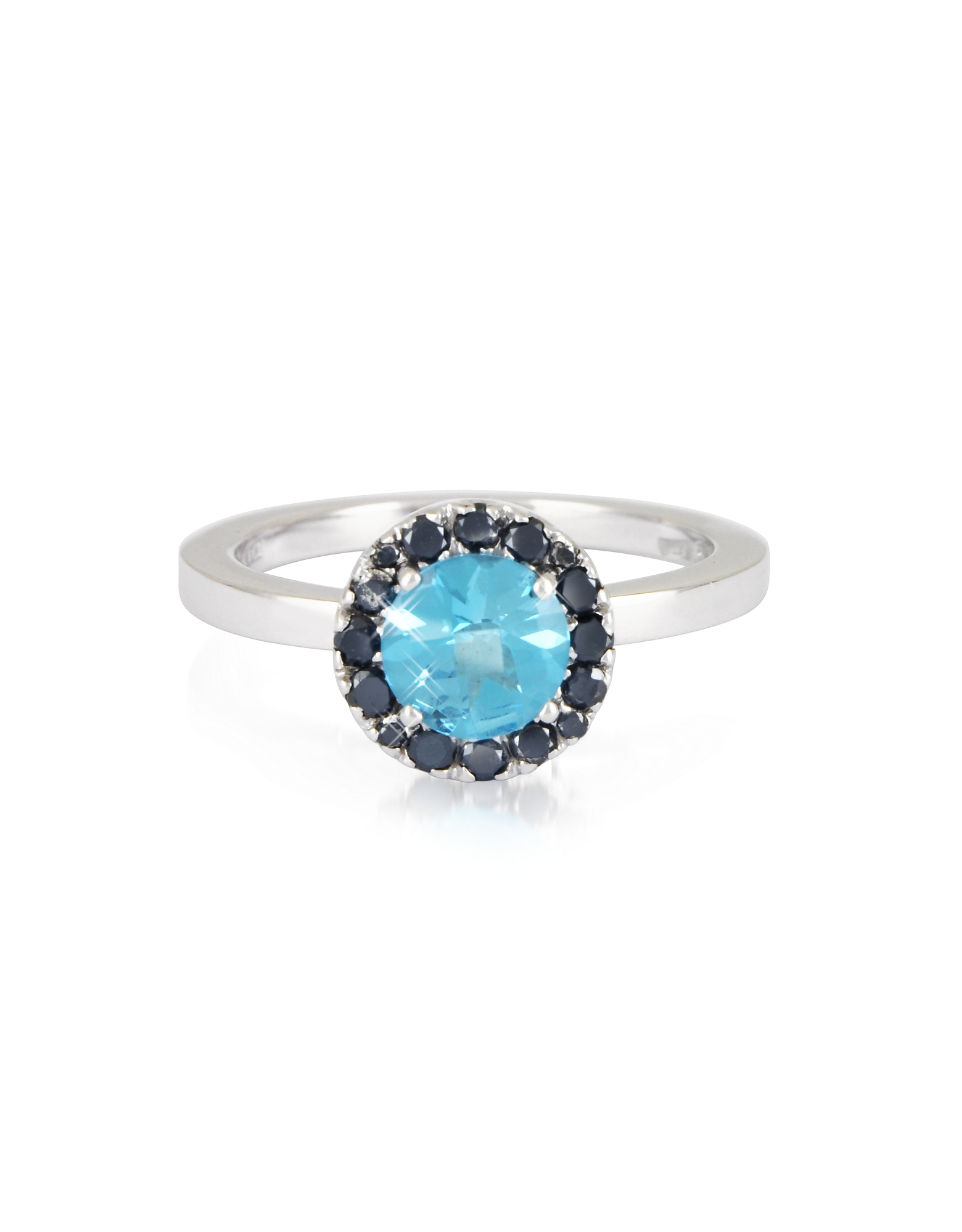 Forzieri Rings, 0.27 ct Diamond Pave 18K White Gold Ring w/Blue Topaz