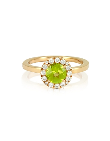 Forzieri - 0.22 ct Diamond Pave 18K Gold Ring w/Green Peridot