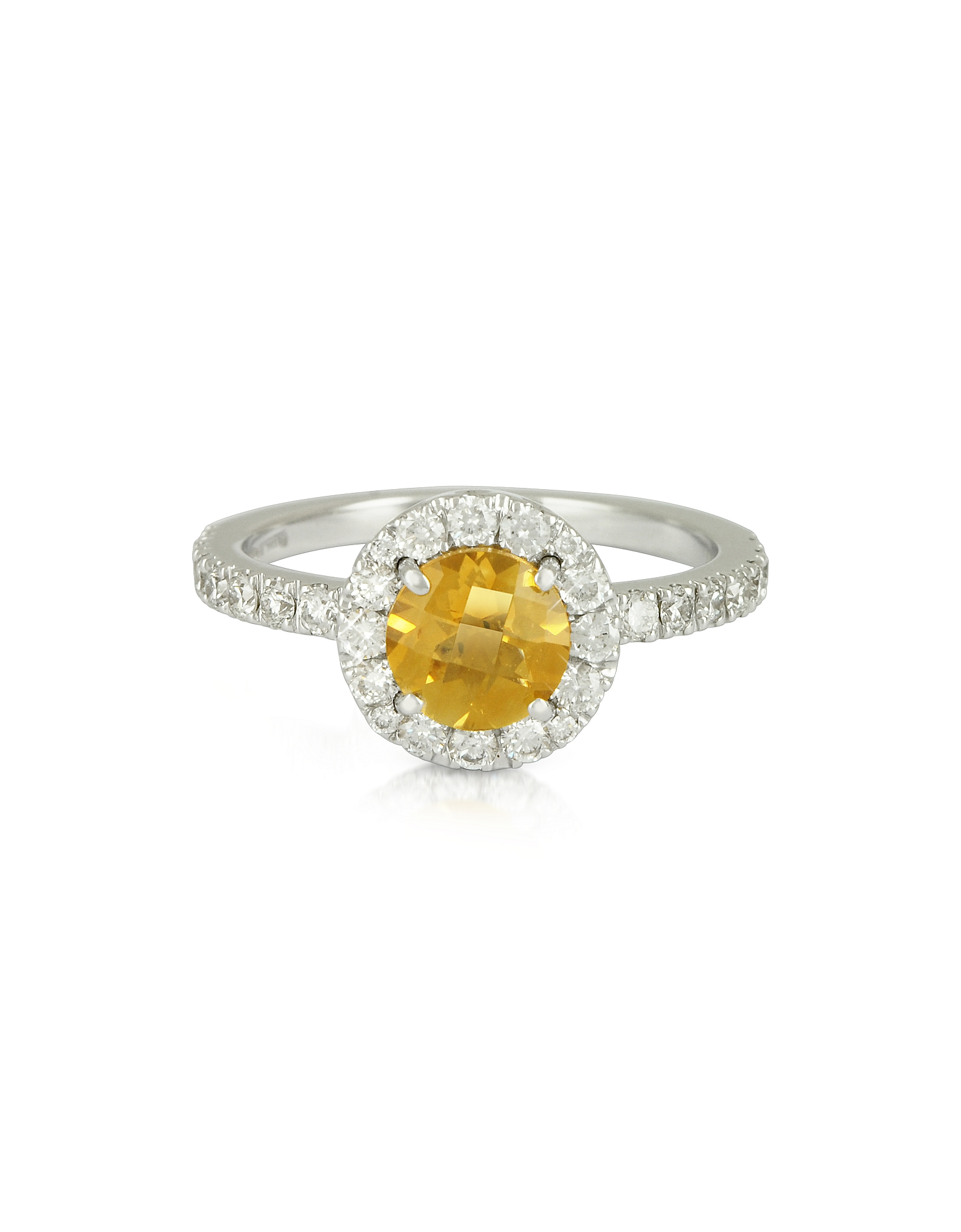 Forzieri Rings, 0.50 ct Diamond Pave 18K White Gold Ring w/Citrine Quartz