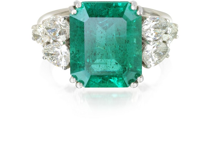 Emerald and Diamond White Gold Ring - Forzieri