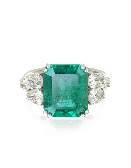 Image of Forzieri Anello in Oro Bianco con Smeraldo e Diamanti a Goccia