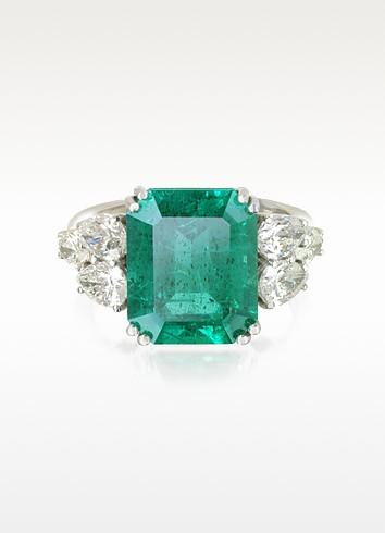 Emerald and Diamond White Gold Ring - Forzieri