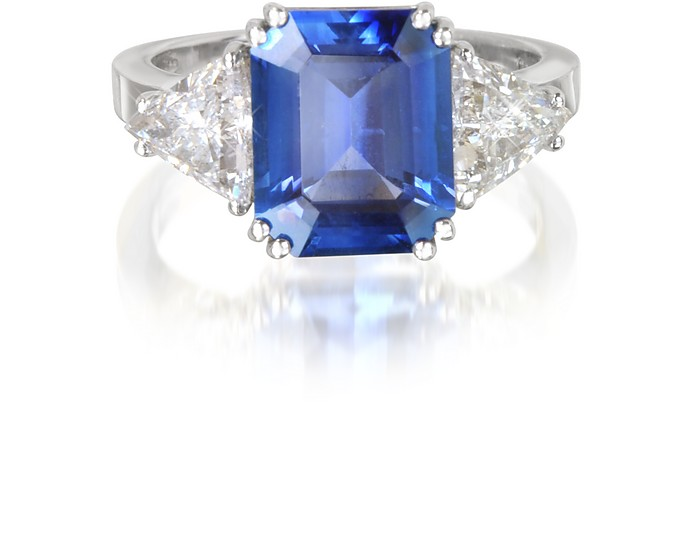 Sapphire and Diamond White Gold Ring - Forzieri