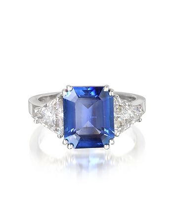Forzieri - Sapphire and Diamond White Gold Ring