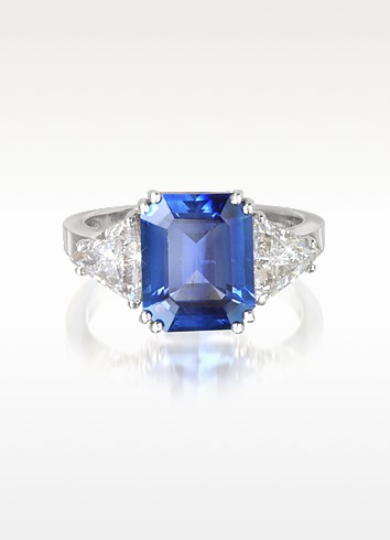 Sapphire and Diamond White Gold Ring - Forzieri