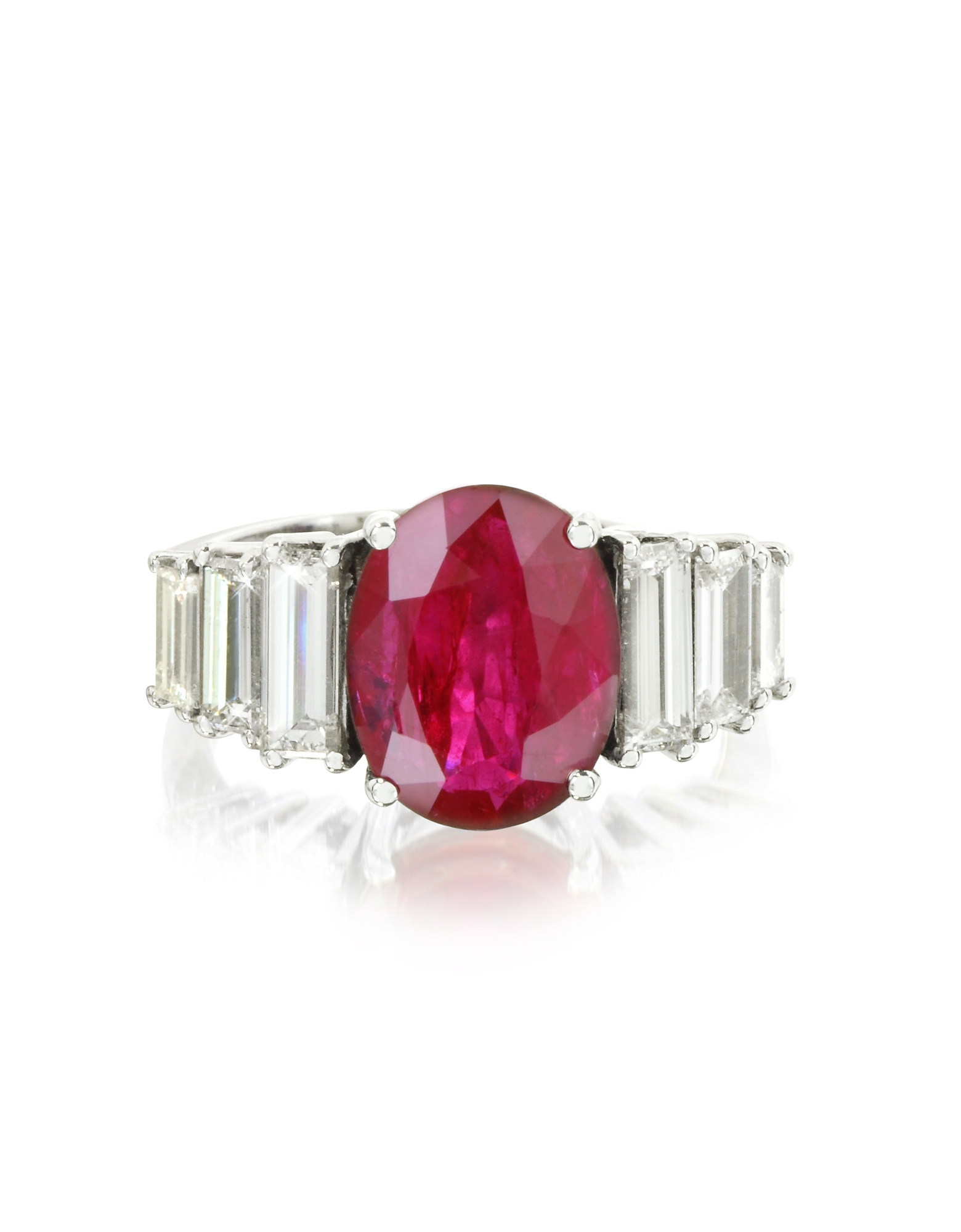 Forzieri Designer Rings, Ruby and Diamond White Gold Ring