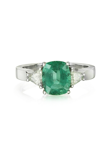 Forzieri - Emerald and Diamond White Gold Ring