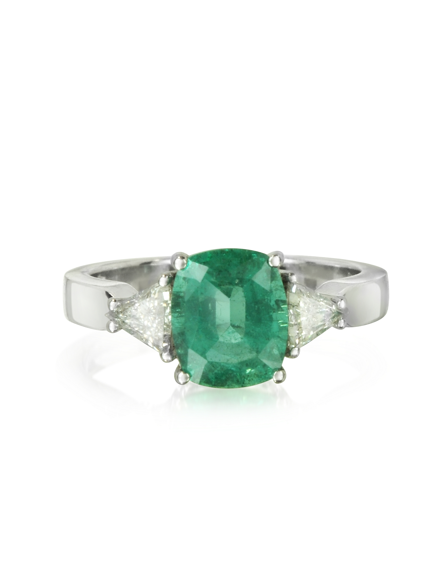 Forzieri Rings, Emerald and Diamond White Gold Ring