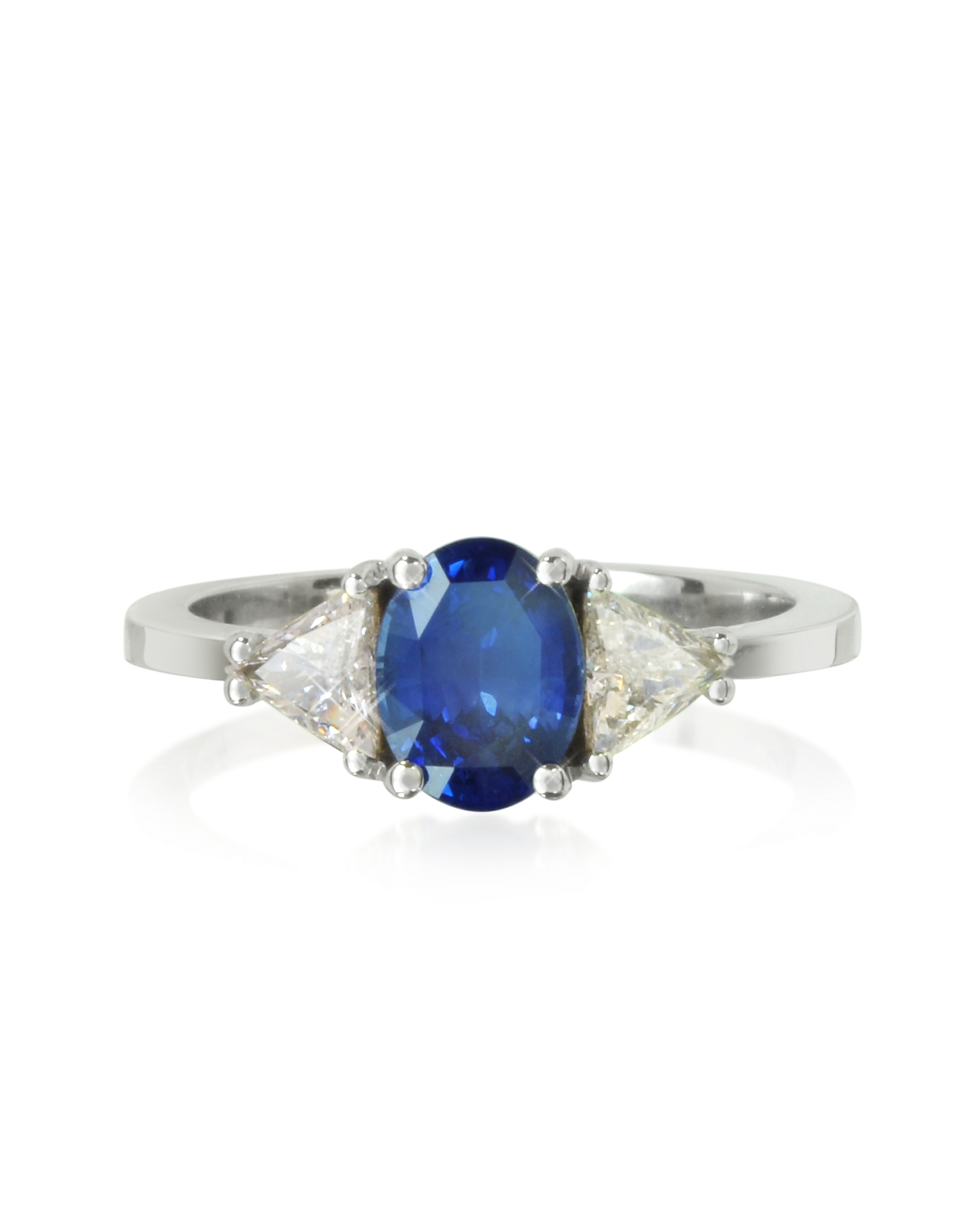 Forzieri Designer Rings, Sapphire and Diamond White Gold Ring