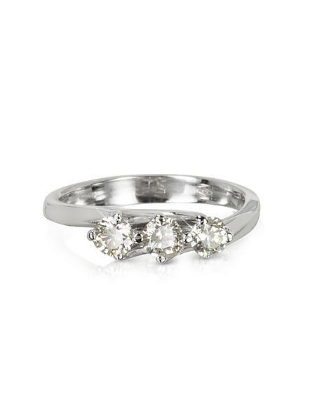 Forzieri Trilogy Flower Ring aus 18k Weißgold mit Diamanten