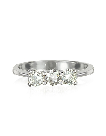 Forzieri - 0.63 ctw Diamond 18K White Gold Trilogy Vanity Ring