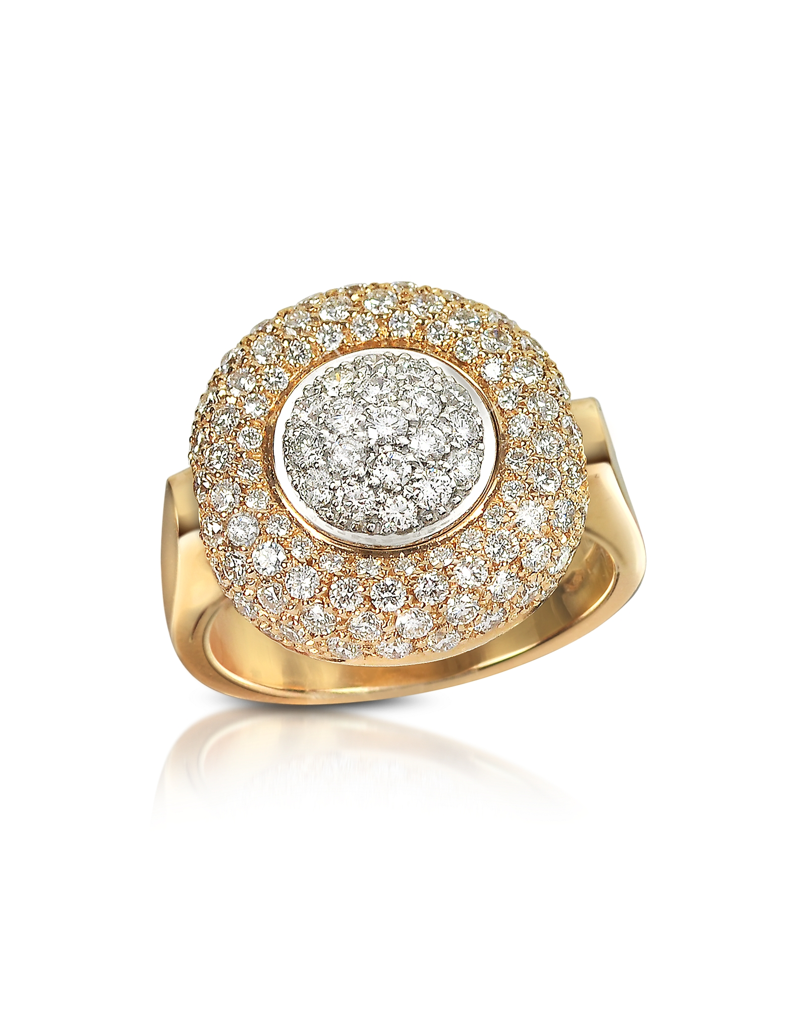 Forzieri Designer Rings, 1.49 ct Diamond Pave 18K Gold Ring