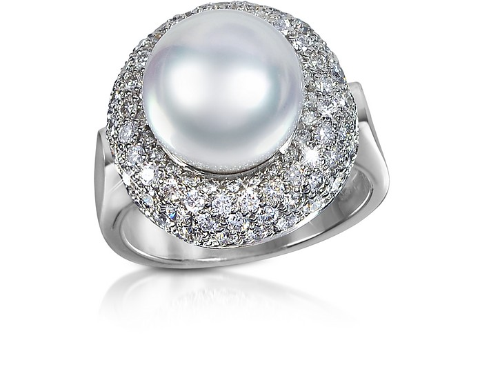 0.70 ct Diamond and Pearl 18K Gold Ring  - Forzieri