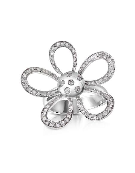 Forzieri 0.57ct Diamond Flower 18K Gold Ring