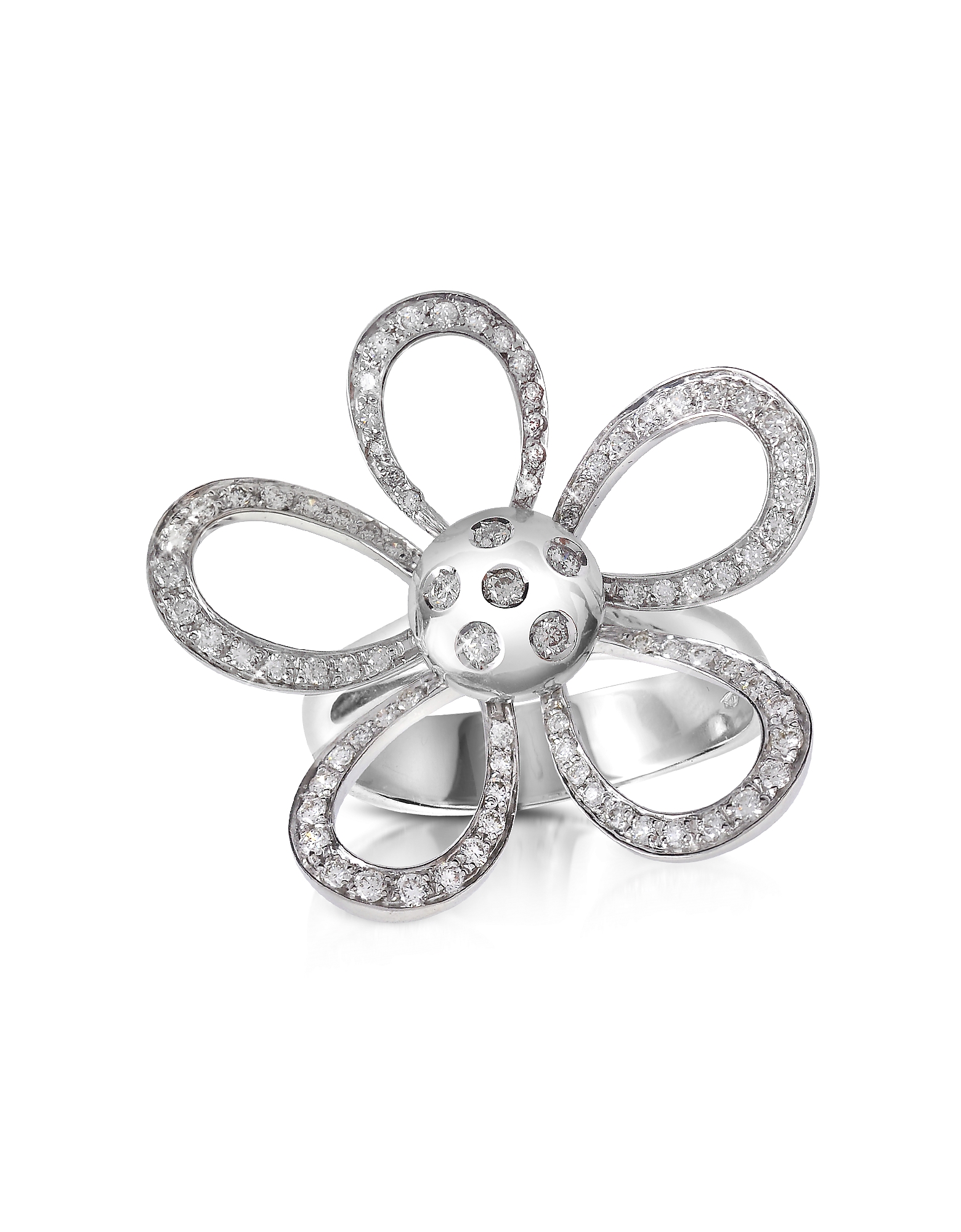 Forzieri Rings, 0.57ct Diamond Flower 18K Gold Ring