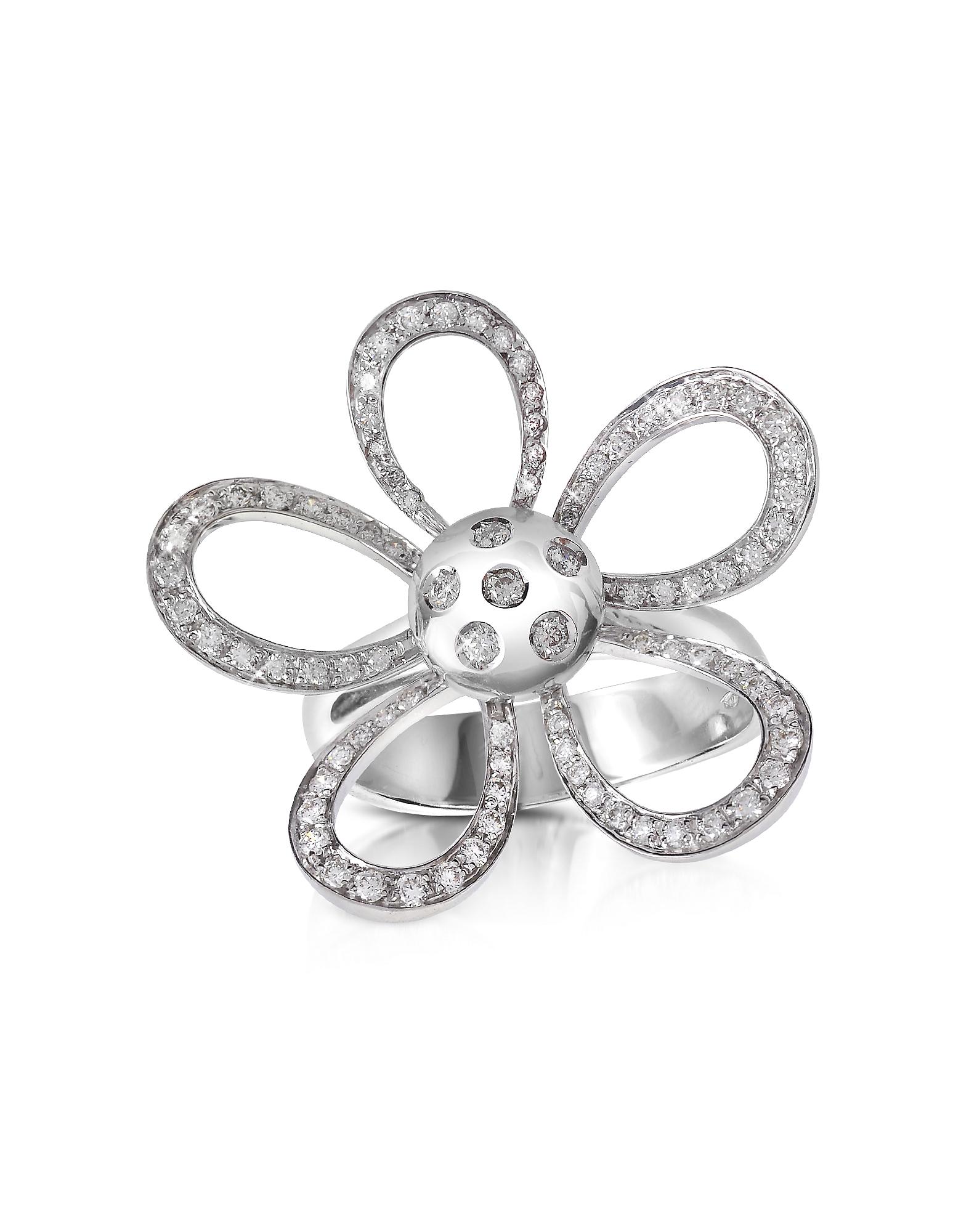 Forzieri Designer Rings, 0.57ct Diamond Flower 18K Gold Ring