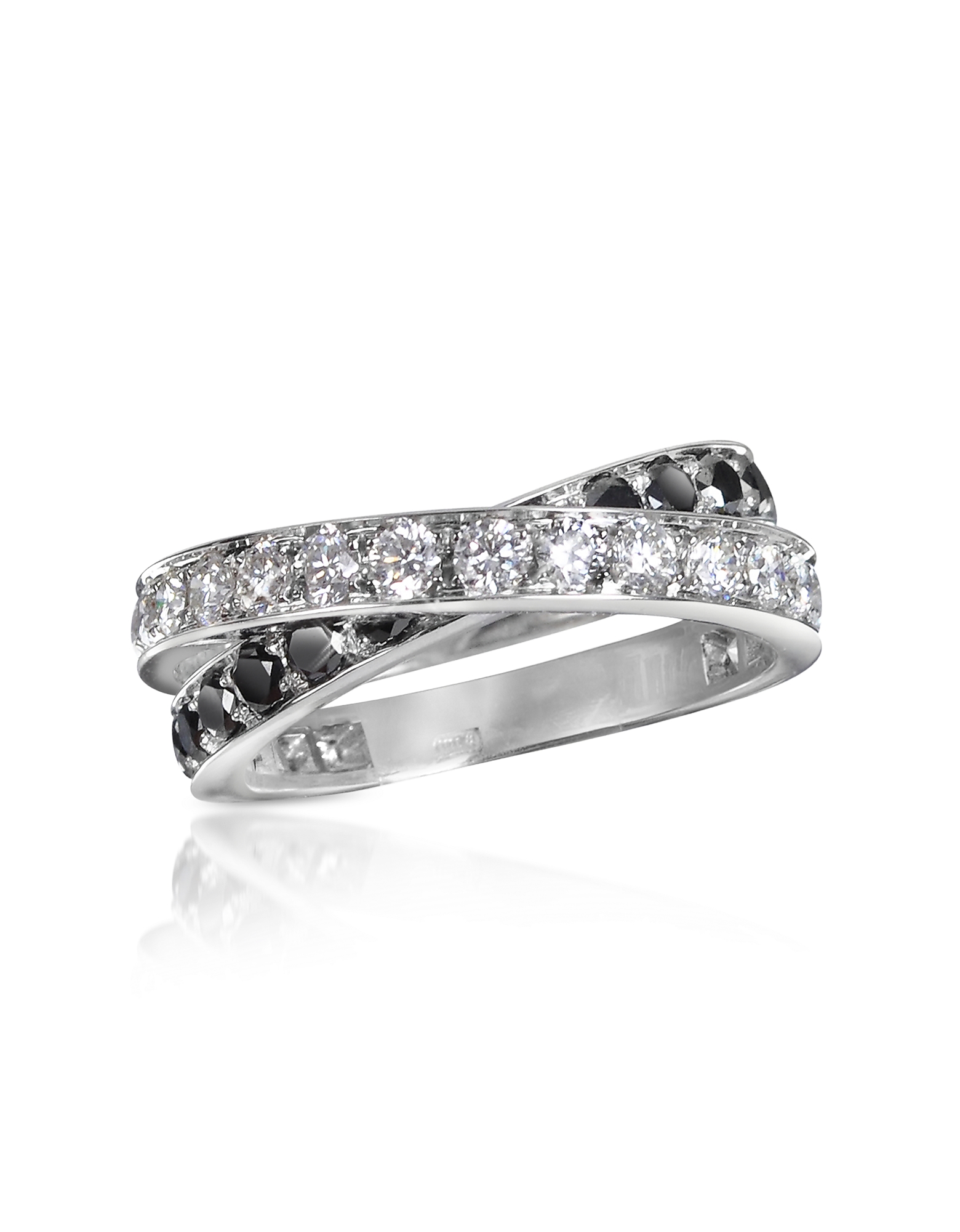 Forzieri Rings, Black & White Diamond Crossover 18K Gold Ring