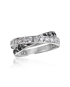 Black & White Diamond Crossover 18K Gold Ring - Forzieri