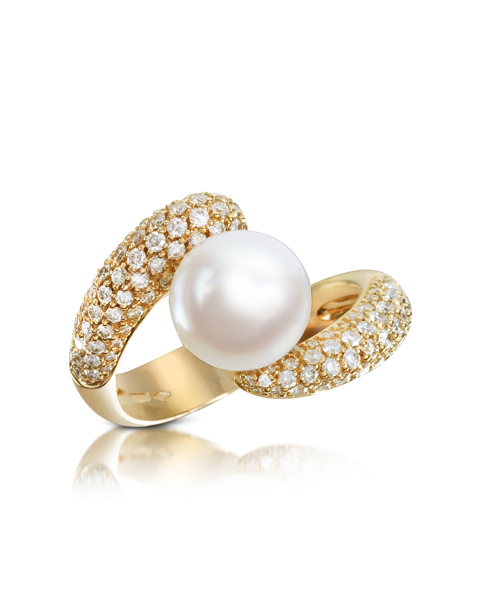 Forzieri Rings, 0.70 ct Diamond and Pearl 18K Gold Ring