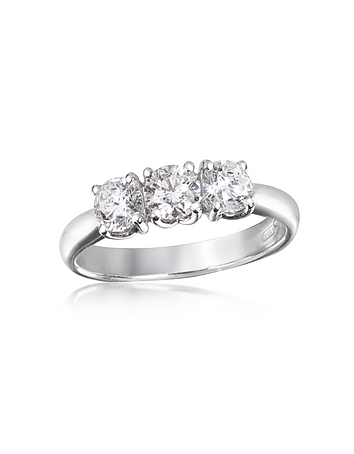 0.92 ctw Diamond Three-Stone 18K Gold Ring