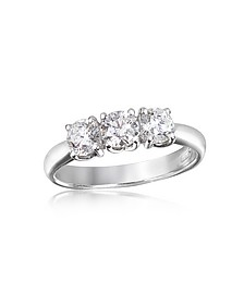0.92 ctw Diamond Three-Stone 18K Gold Ring - Forzieri