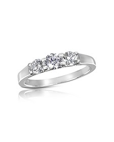 0.64 ctw Diamond Three-Stone 18K Gold Ring - Forzieri