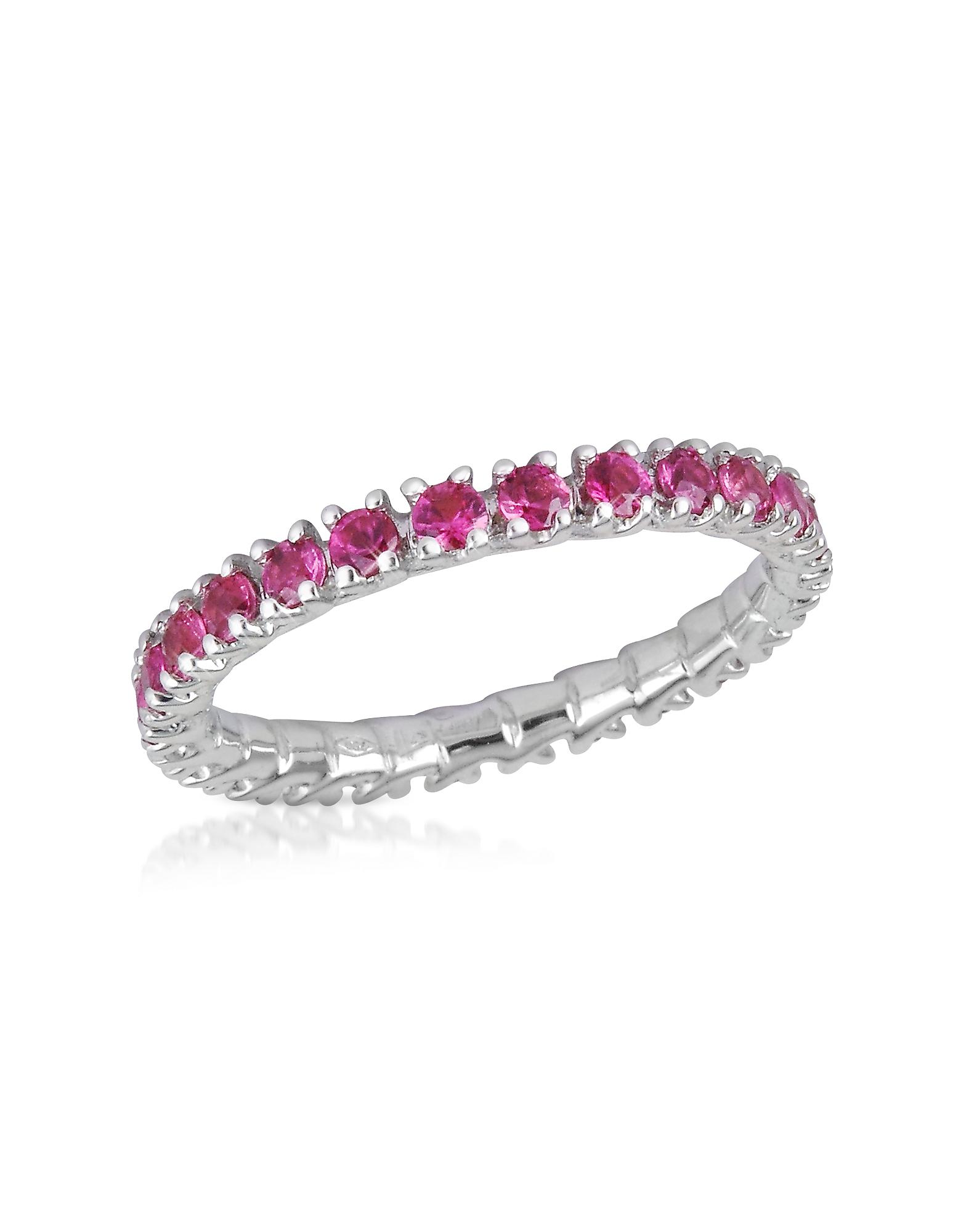 Обручальное Кольцо из Золота 18 карат с Розовыми Сапфирами