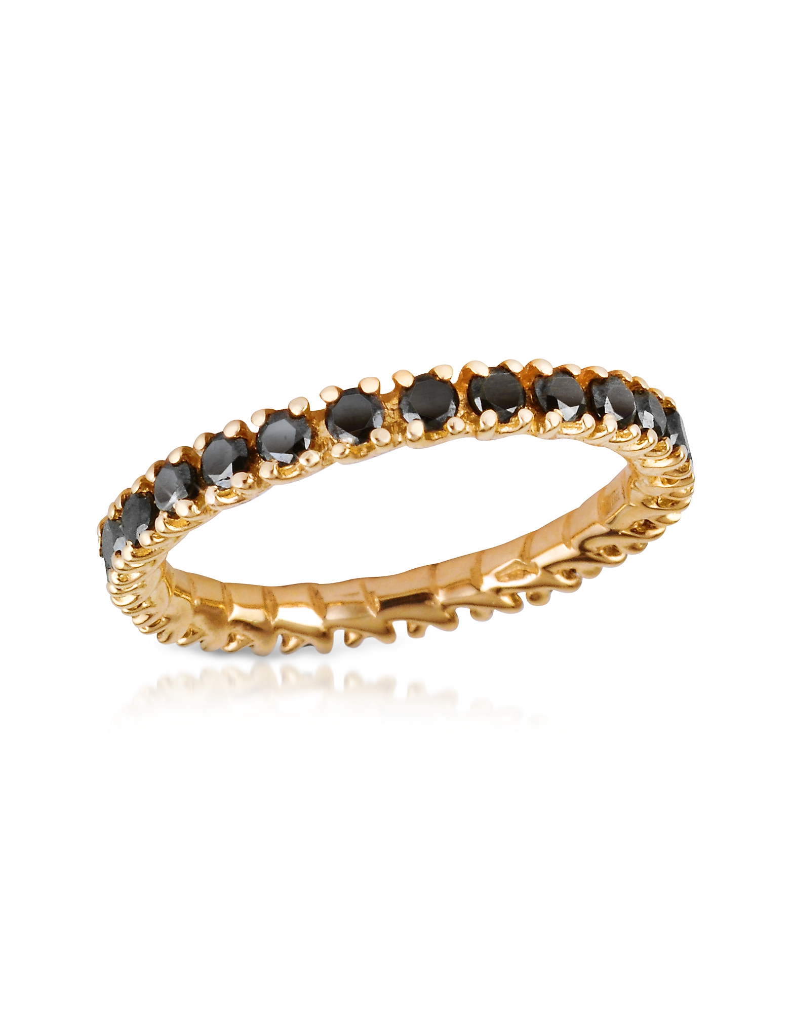 Forzieri Rings, Black Diamond 18K Yellow Gold Eternity Band
