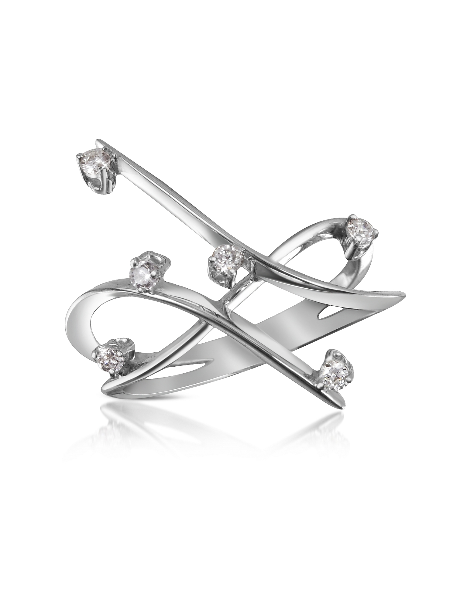 Forzieri Designer Rings, 0.18 ctw Diamond Cross-Over Ring