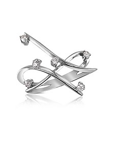 0.18 ctw Diamond Cross-Over Ring - Forzieri