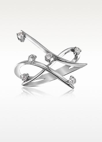 0.18 ctw Diamond Cross-Over Ring - Forzieri