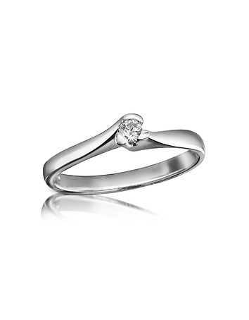 A elegant 18K white gold band twists gently at the solitaire setting for an exquisite setting that allows the brilliance and luminosity of this timeless stone to radiate. CTW 0.08. Signature box included. Made in Italy.