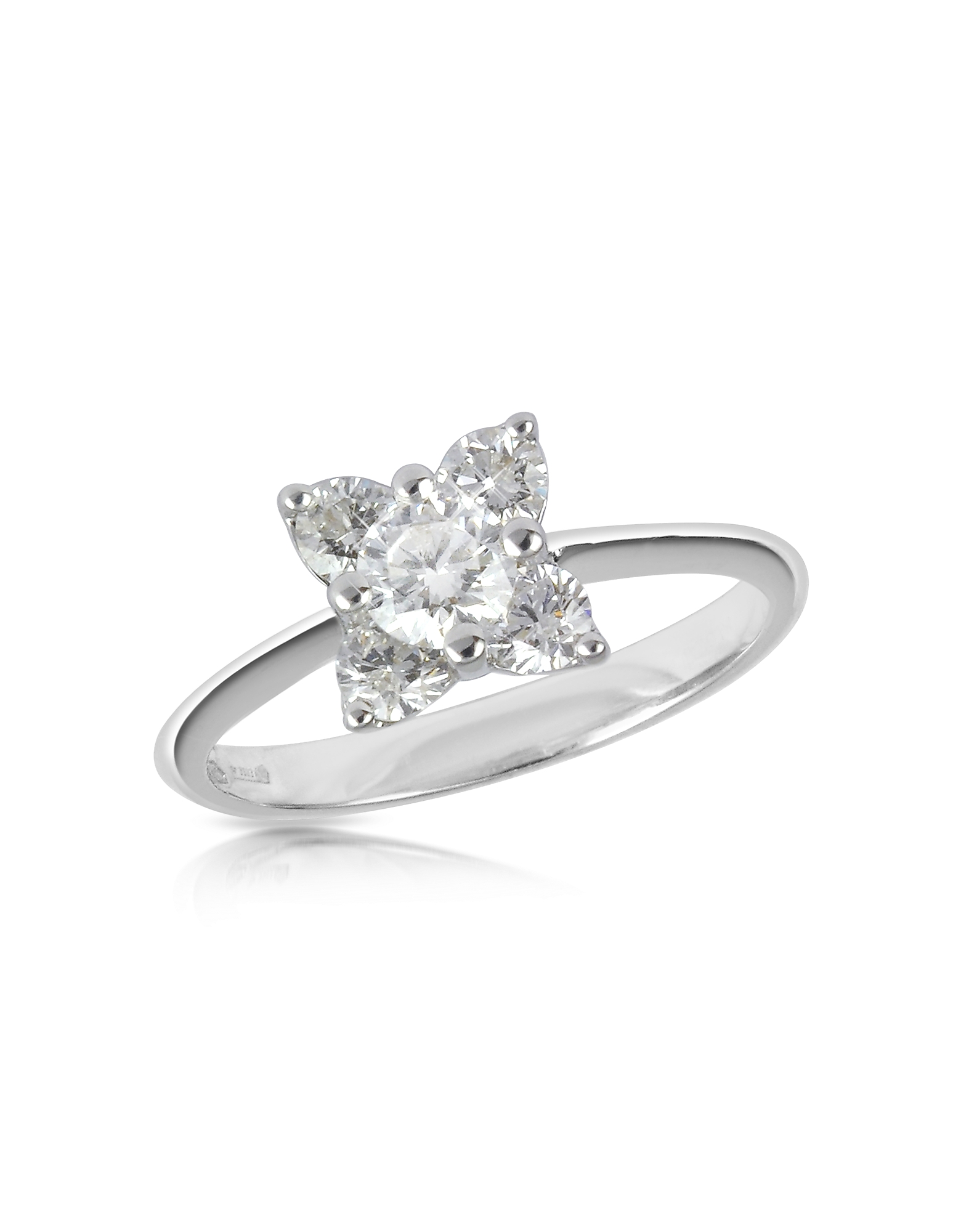 Forzieri Rings, Diamond Flower 18K White Gold Ring
