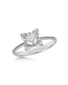 Diamond Flower 18K White Gold Ring - Forzieri