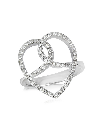 Diamond Crossing Heart 18K White Gold Ring